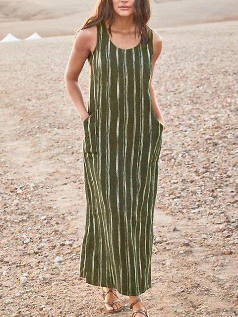 Casual Striped Sleeveless Pockets Maxi Dresses