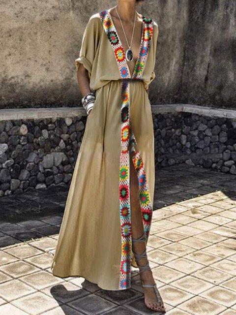 V Neck Women Dresses Going Out Vintage Tribal Dresses