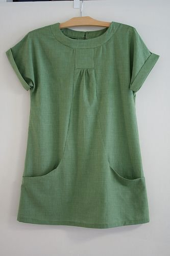 Women Causal  Round Neck Short Sleeve Pockets Top