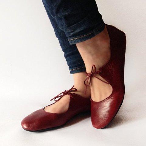 Womens Ballet Flats Comfortable Lace-Up Flats Summer Shoes