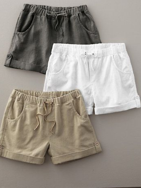 Pockets Solid Casual Pants