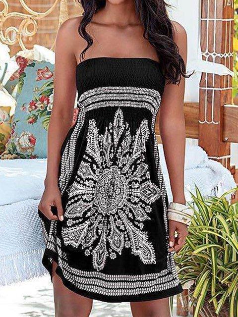 Wrapped Chest Print Dresses Women's Fashion Ethnic Beach Dresses