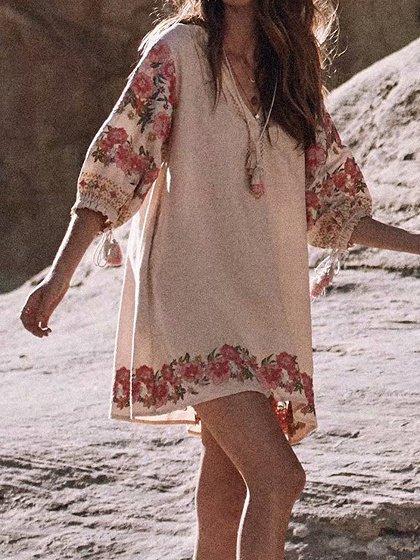 Women White Vintage Floral Dresses