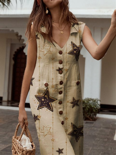 Casual Star Printed V-neck Buttoned Short Sleeve Dress