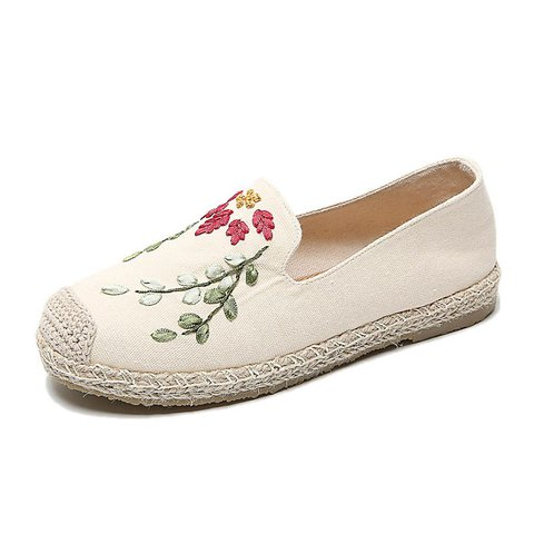 Vintage Embroidery Cotton Canvas Chic Slip On Loafers Shoes