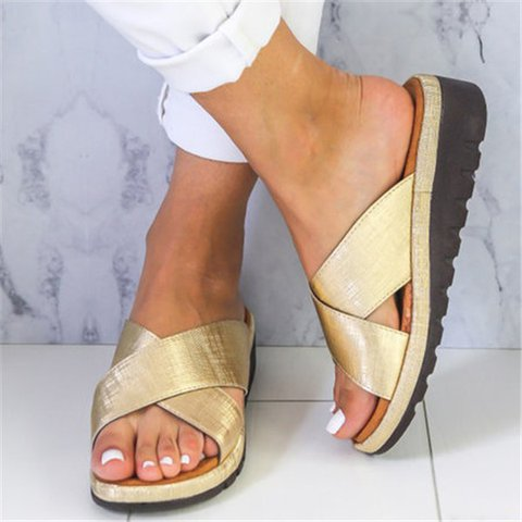 Women Chic Cross Strap Slide Sandals