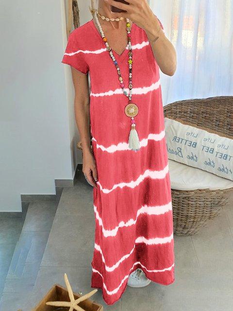 fa71b21060d Justfashionnow Women Dresses Maxi Dresses Plus Size Sundress 1 Casual  Dresses Daily Shift V Neck Short Sleeve Printed dyed Casual Dresses