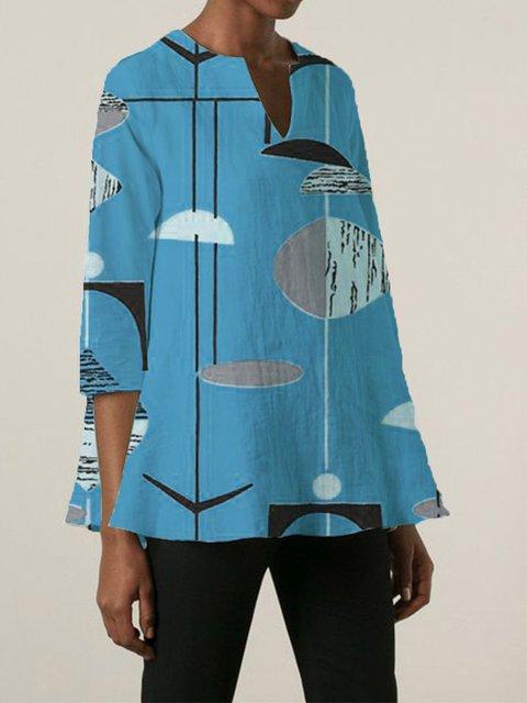 Cotton-Blend Floral 3/4 Sleeve V Neck Shirts & Tops