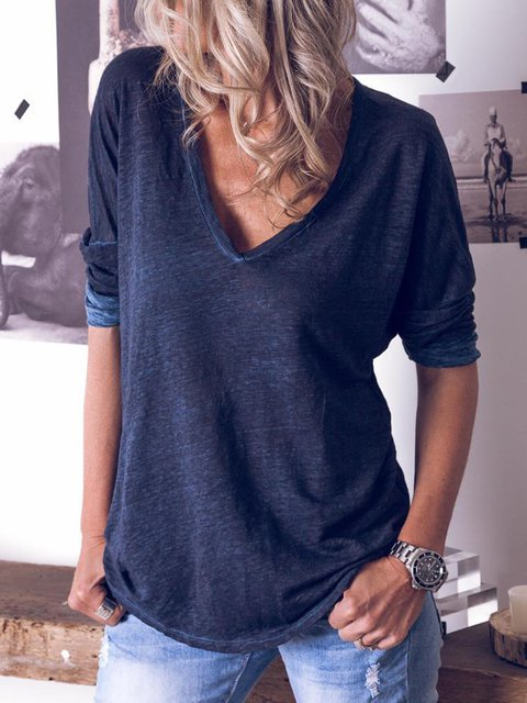 Spring Plain Shirts Casual Plain Long Sleeve Tops