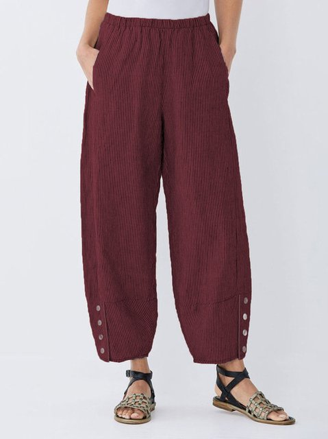 Striped Linen Casual Women Pants