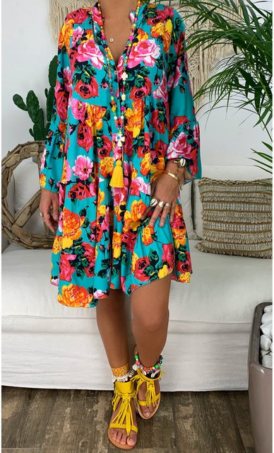 Printed Floral Buttoned V Neck Shift Casual Boho Cotton Dresses