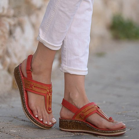 Women Casual Summer Comfy Thong Slingback Wedge Sandals