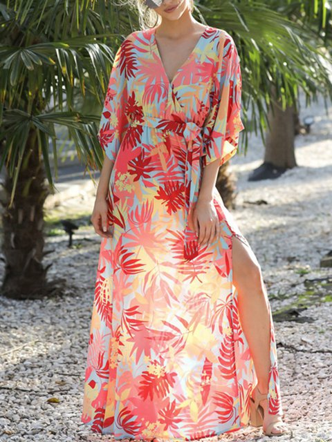 Women Red Surplice Neck  A-Line Beach Vintage Floral Printed Maxi Dress