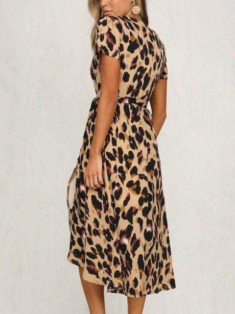 0af22ff9ed6c Sexy Leopard Print Strap Dresses Women's V-neck Short-sleeved Casual Dresses