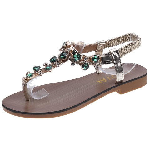 Rhinestone Women Beach Thong Sandals Elastic Band Shoes