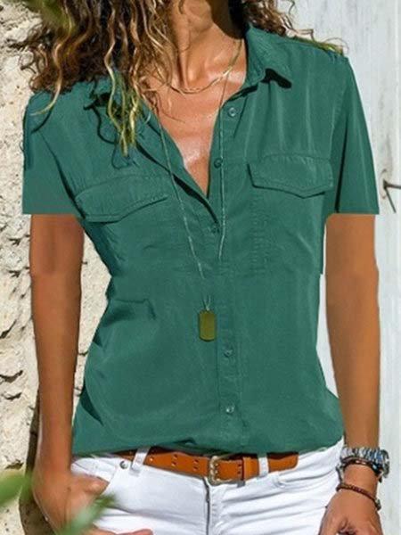 Women Summer Pockets Blouses Casual Short Sleeve Tops