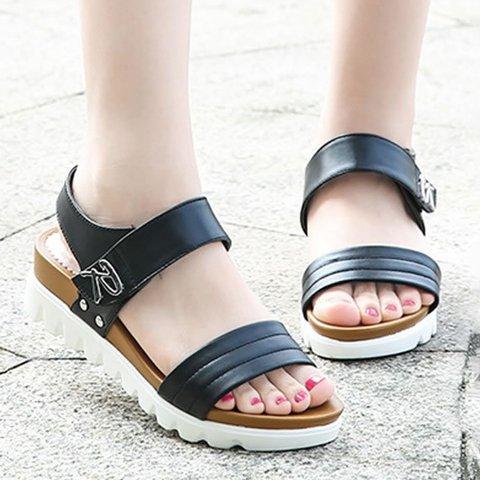 Metal Letter Decor Casual Sandals Women