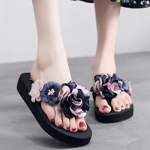 Flower Casual Wedge Flip Flop Slippers Women