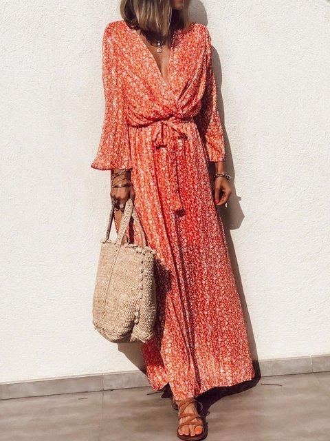 Plus Size Long Sleeve V-neck   Floral  Elegant Casual  Maxi  Dress