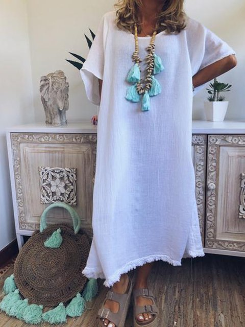 Women Short Sleeve Plain Dresses
