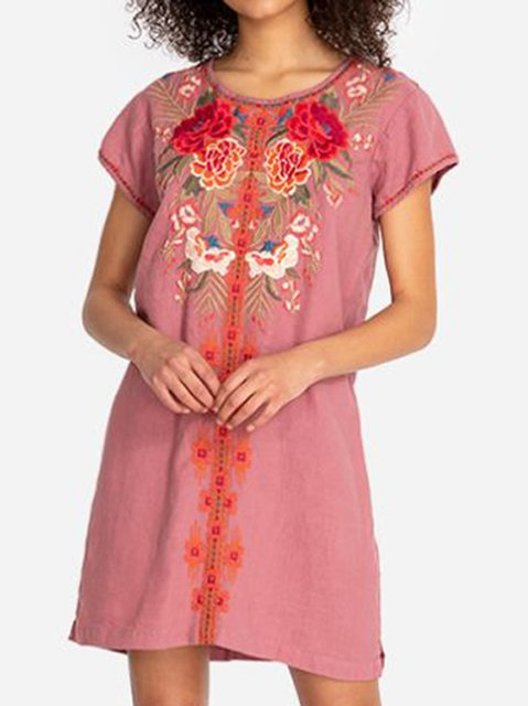 Short Sleeve Round Neck Boho Dresses