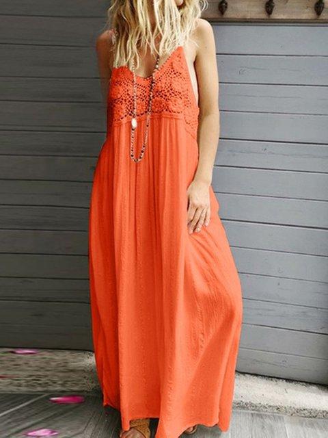 Women Summer Beach Midi Dresses V Neck Shift Daily Cotton Paneled Dresses