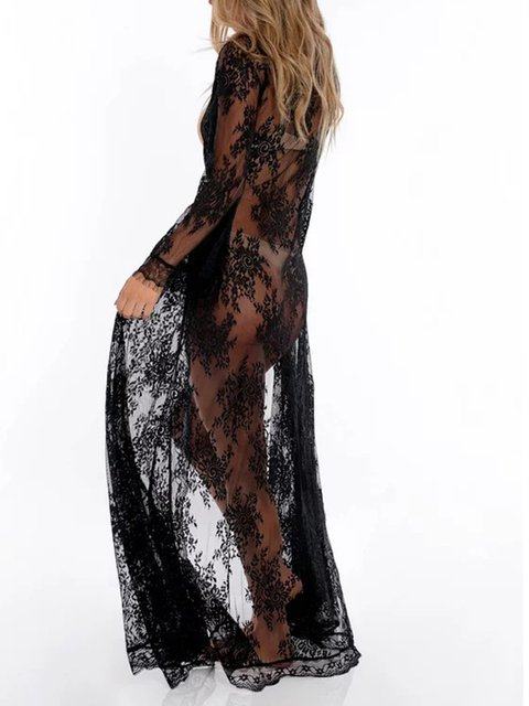 Wavy Lace Loose Sunscreen Beach Cardigan Long Skirt Holiday Swimsuit Outside Blouse
