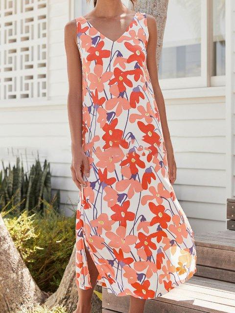 Women Summer Sleeveless Floral Midi Dresses V Neck Shift Beach Boho Dresses