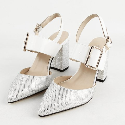 Women Dress Pointed Toe Chunky Heel Buckle Sandals