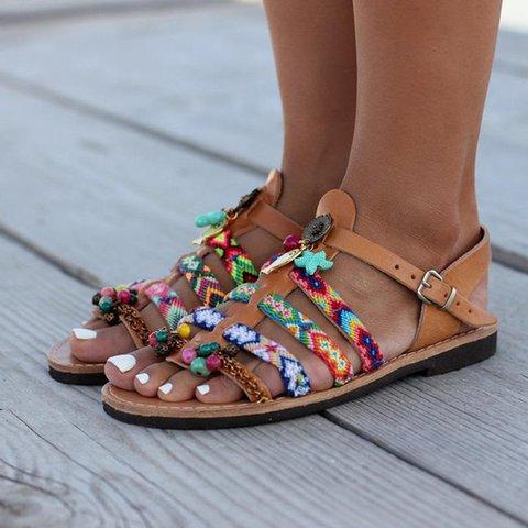 Women Flat Heel Holiday Vinatge Casual Sandals