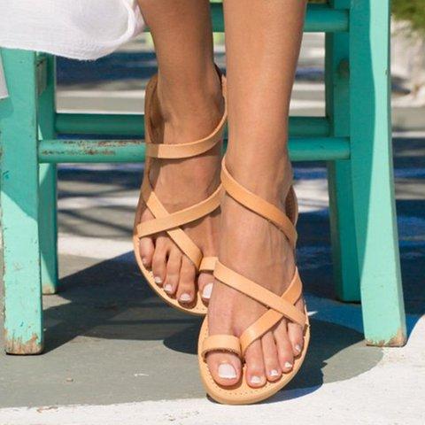 Women Flat Heel Vintage Casual Sandals