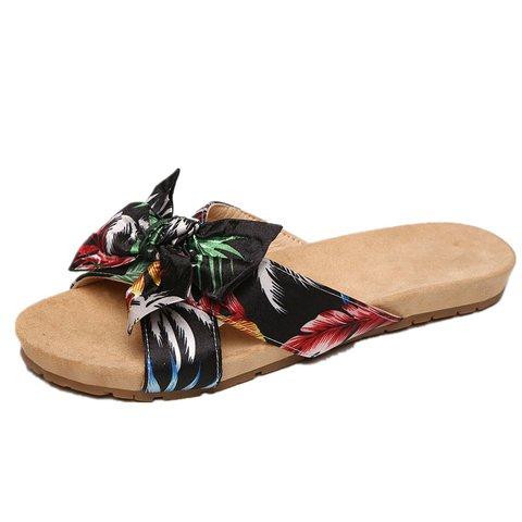 Open Toe Bowknot Slide Flat Sandals