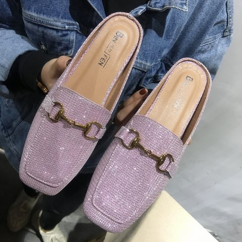 Chic Glitter Embellished Casual Flat Mule Shoes