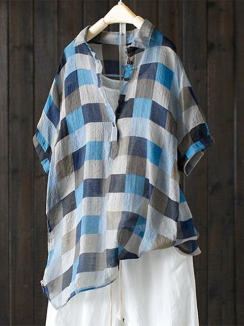 Plaid Buttoned Short Sleeve Casual Blouse