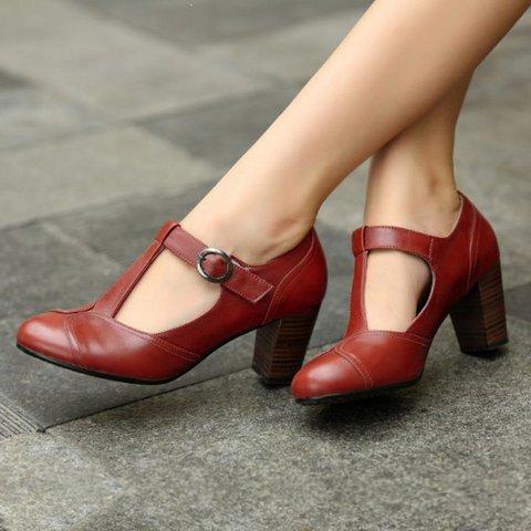 Chunky Heel Buckle Strap Vintage Sandals