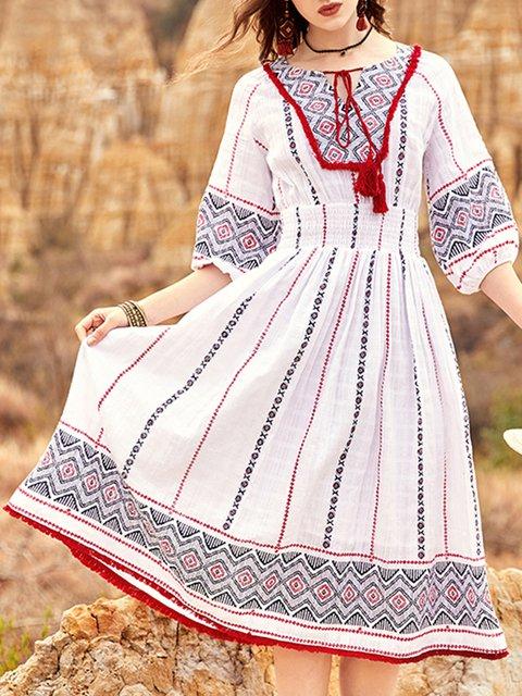 Boho A-Line Balloon Sleeve Holiday Printed Midi Dress