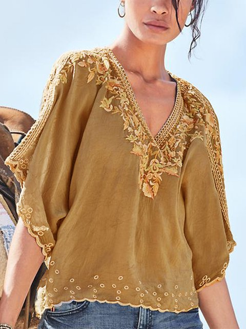Casual Printed V Neck Half Sleeve Blouse