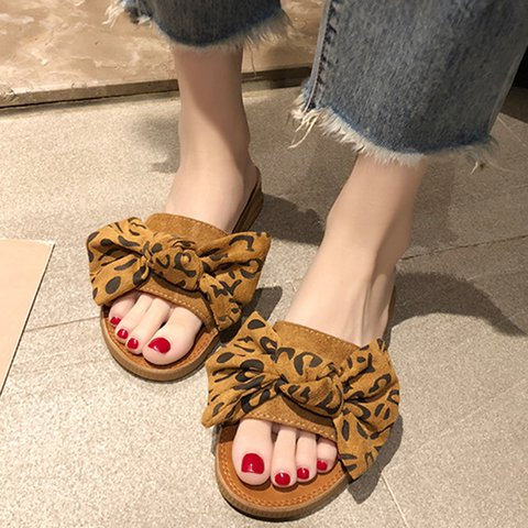 Bowknot Leopard Printed Casual Slippers Women
