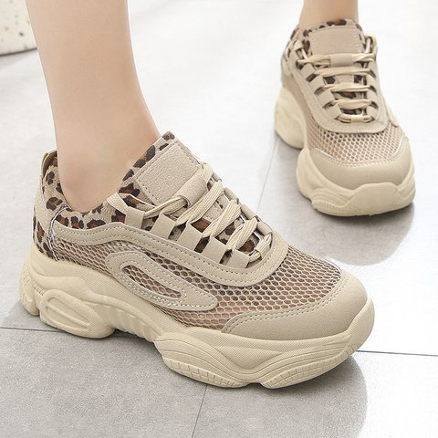 Leopard Printed Summer Mesh Fabric Sneakers