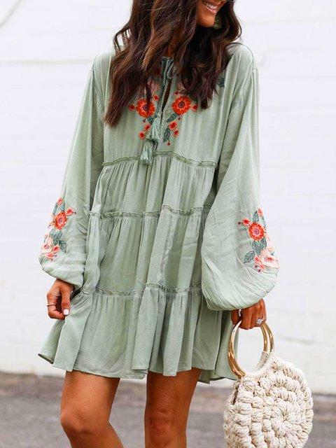 Plus Size Long Sleeve  Floral  Tassel Charm  Elegant Casual  Mini  Dresses