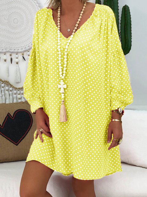 Printed Polka Dots V Neck Daytime Casual Dresses