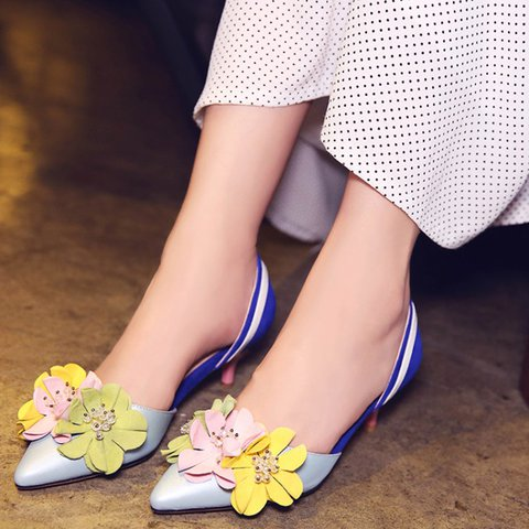 Leather Spring Color Block Flower Shoes