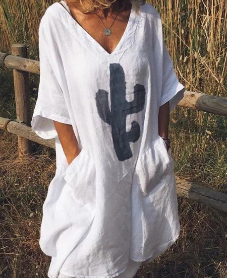 Linen Casual V Neck Dresses