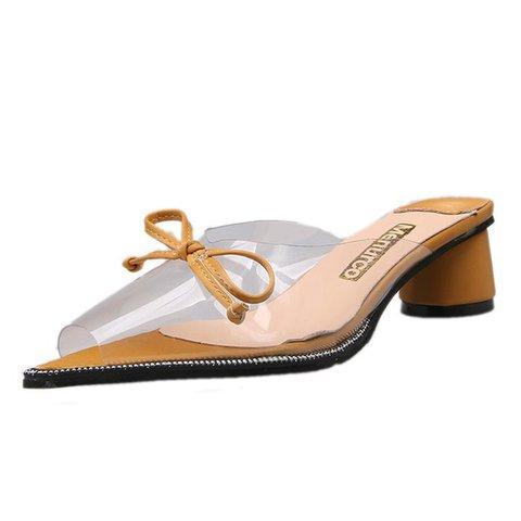 Transparent Pointed Toe Bowknot Slide Heeled Sandals