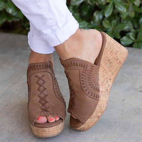 Chic Casual Wedge Sandals Slide Shoes
