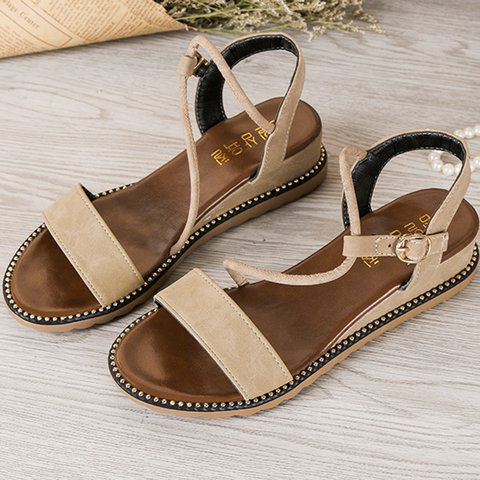 Women Suede Peep Toe Holiday Buckle Sandals