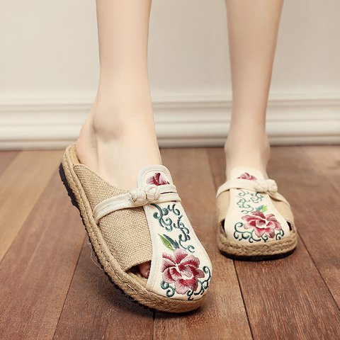 Flower Embroidered Canvas Slip On Mule Loafers