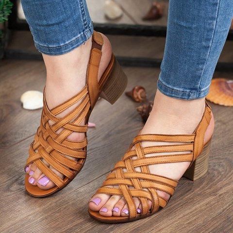 Women's Elastic Band Peep Toe Heels Vintage Sandals