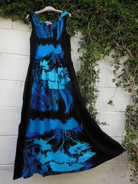 Printed Abstract Crew Neck Shift Daytime Vintage Maxi Dresses
