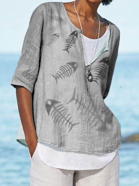 Linen Plain Crew Neck Casual Shirts & Tops